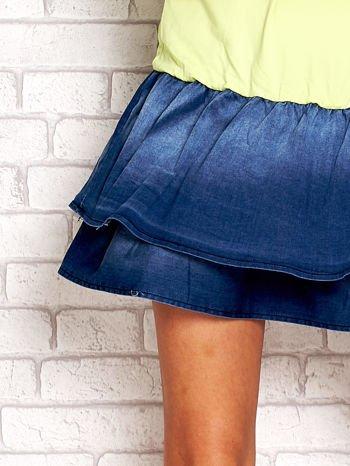 Limonkowa sukienka dresowa z jeansowym dołem                                  zdj.                                  5