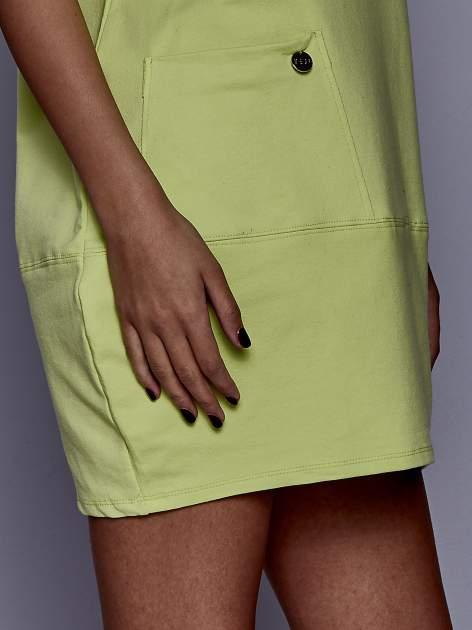 Limonkowa sukienka dresowa z kieszenią z boku                                  zdj.                                  5