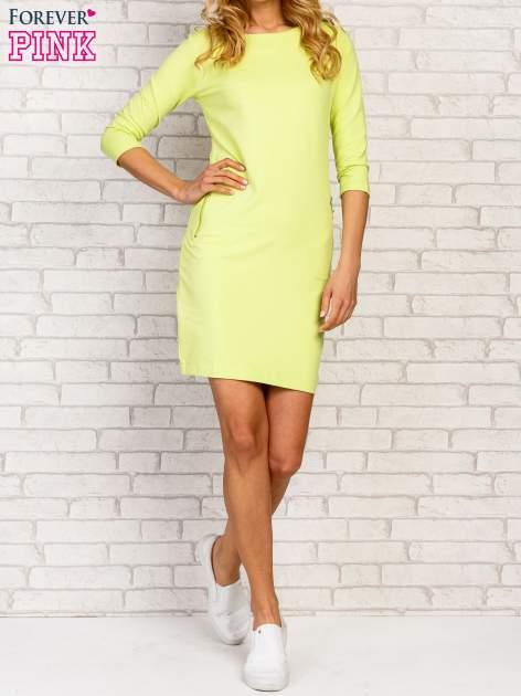 Limonkowa sukienka z kieszeniami na suwak                                  zdj.                                  2