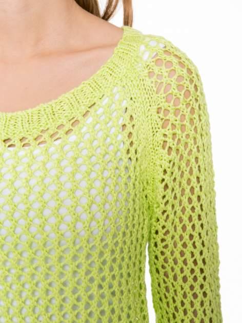Limonkowy siatkowy sweter                                  zdj.                                  5