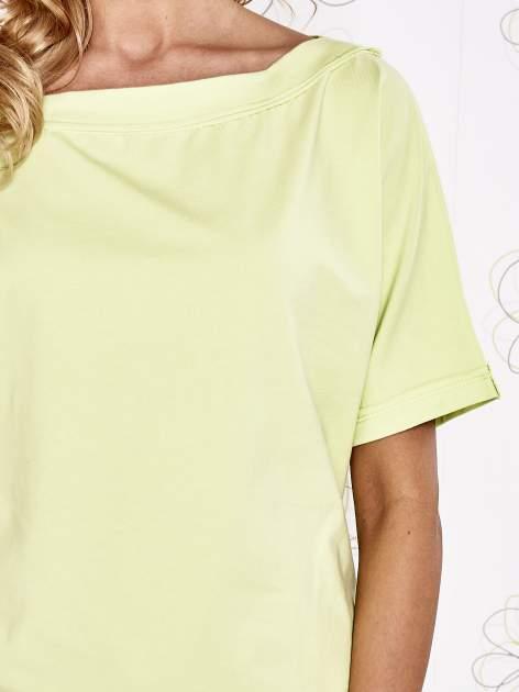 Limonkowy t-shirt z dekoltem w łódkę                                  zdj.                                  5