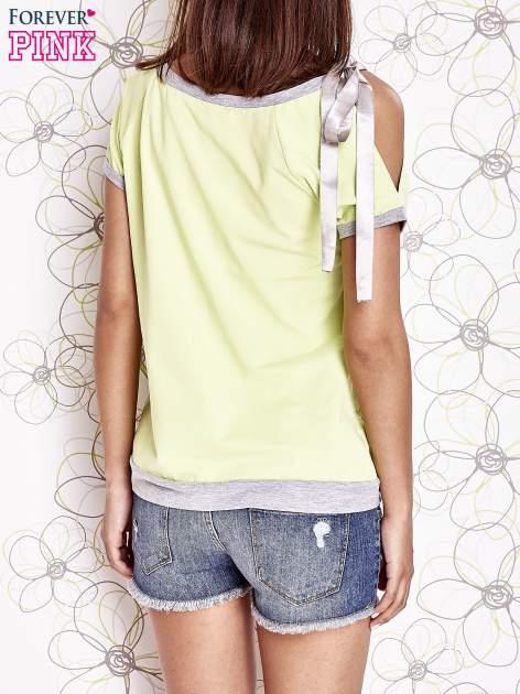 Limonkowy t-shirt z kokardą                                  zdj.                                  4