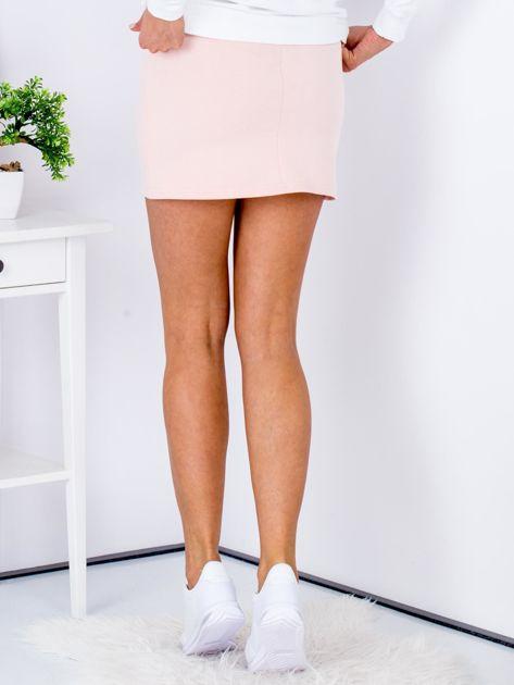 Łososiowa dresowa spódnica mini                              zdj.                              2