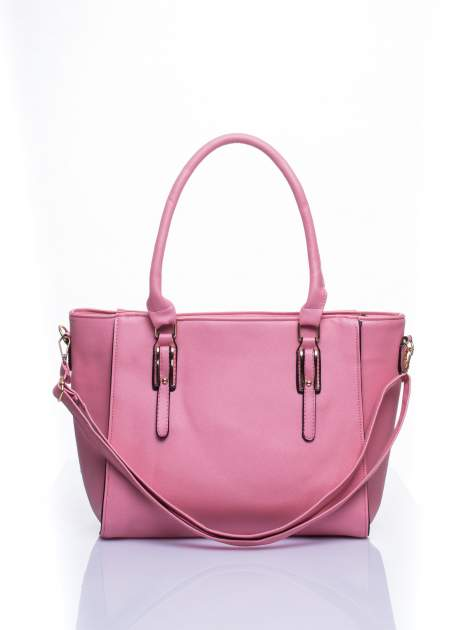 Łososiowa torba shopper bag z odpinanym paskiem