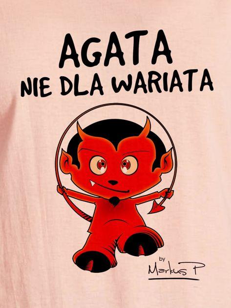 Łososiowy t-shirt damski AGATA NIE DLA WARIATA by Markus P                              zdj.                              2