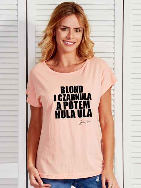 Łososiowy t-shirt damski BLOND I CZARNULA by Markus P                                  zdj.                                  1