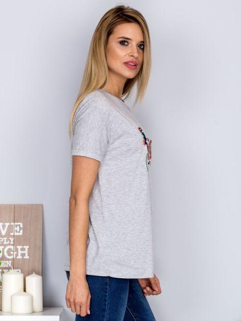 Luźny t-shirt z haftowaną aplikacją roweru jasnoszary                                  zdj.                                  3