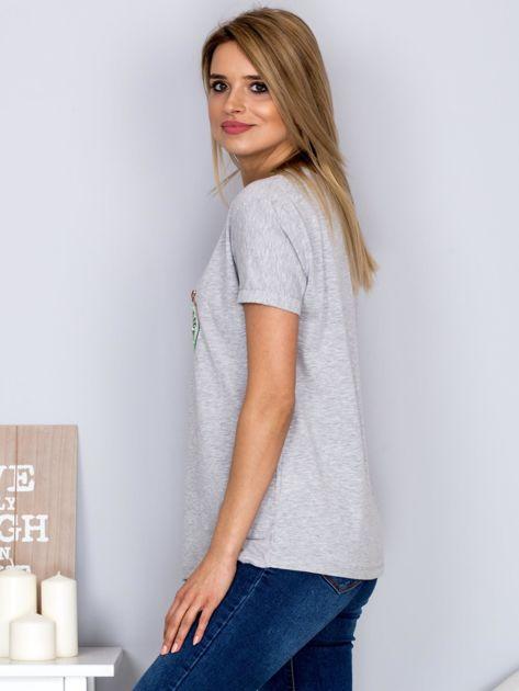 Luźny t-shirt z haftowaną aplikacją roweru jasnoszary                              zdj.                              5