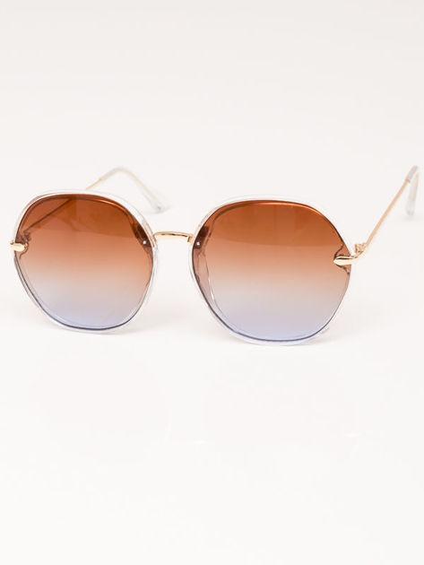 MANINA Okulary przeciwsłoneczne damskie złote szkło brązowo-liliowe dymione                              zdj.                              2
