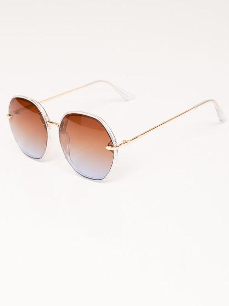 MANINA Okulary przeciwsłoneczne damskie złote szkło brązowo-liliowe dymione                              zdj.                              4