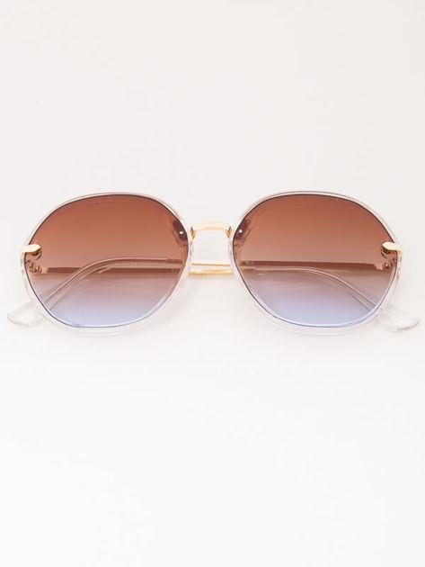 MANINA Okulary przeciwsłoneczne damskie złote szkło brązowo-liliowe dymione                              zdj.                              6