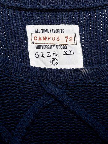 MARC O'POLO Granatowy sweter męski z warkoczowym splotem                                  zdj.                                  4