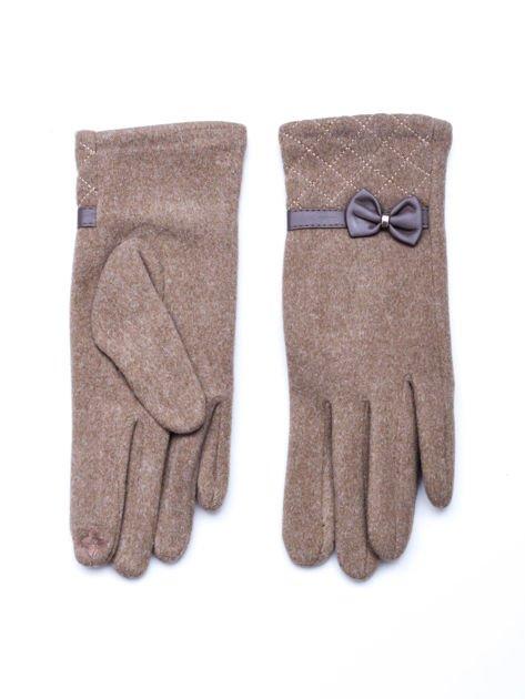 """""""MOHER"""" Beżowe rękawiczki damskie z pikowaniem i kokardą"""
