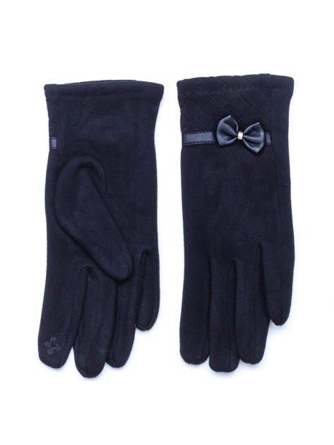"""""""MOHER"""" Czarne rękawiczki damskie z pikowaniem i kokardą"""