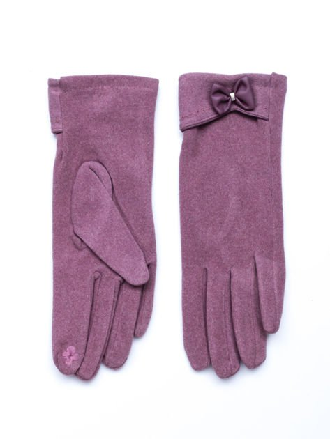 """""""MOHER"""" Rózowe rękawiczki damskie z kokardą"""