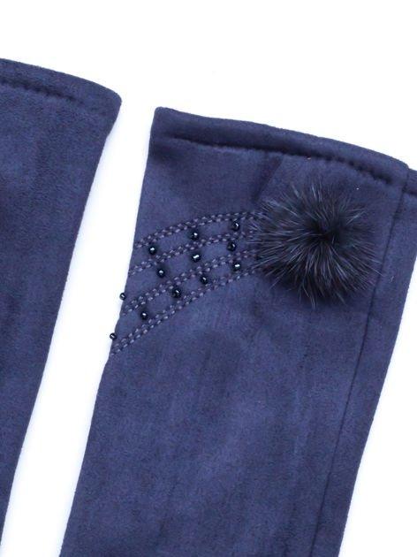 """""""MOHER"""" Szare rękawiczki damskie ze zdobieniem                              zdj.                              2"""