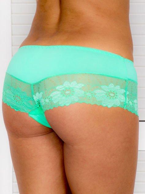 Majtki szorty damskie z koronką 2-pak biało-zielone                              zdj.                              5