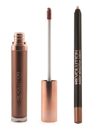 Makeup Revolution Retro Luxe Metallic Lip Kit Zestaw do ust konturówka 1g + pomadka w płynie 5,5ml We Rule                              zdj.                              3