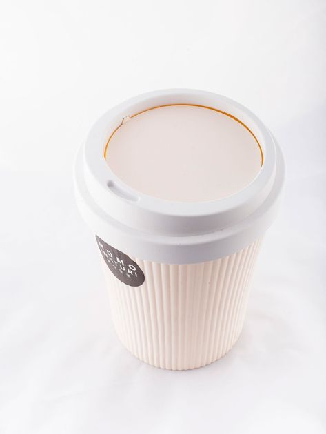 Mały plastikowy kosz na śmieci Kubek Do Kawy ecru                              zdj.                              4
