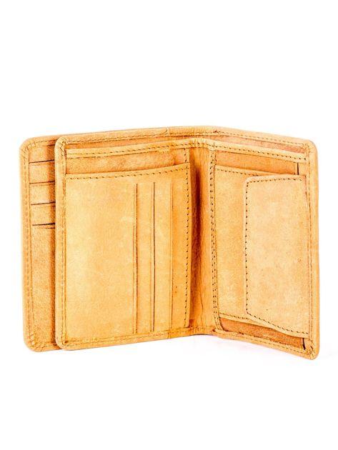 Miękki skórzany portfel camelowy z tłoczeniem                              zdj.                              5