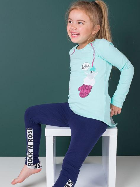 Miętowa bawełniana bluzka dla dziewczynki                               zdj.                              6