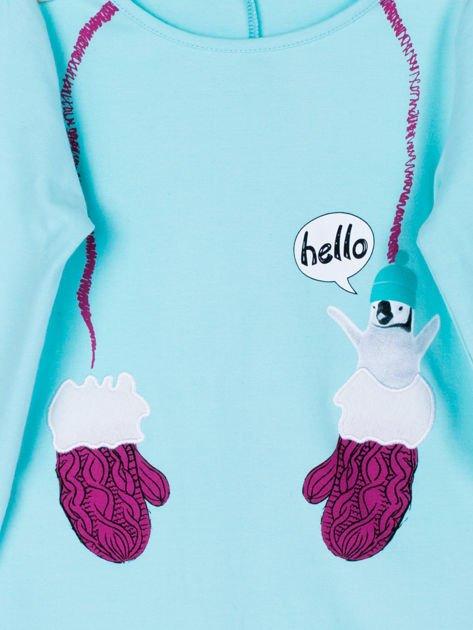 Miętowa bawełniana bluzka dla dziewczynki                               zdj.                              10