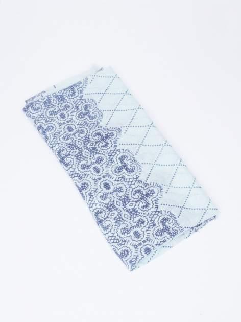 Miętowa bawełniana chustka w orientalny wzór                                  zdj.                                  3
