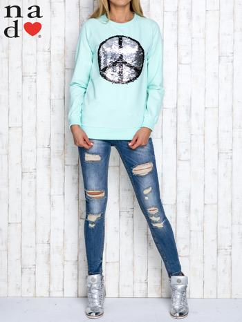 Miętowa bluza z dwustronną naszywką z cekinów                                  zdj.                                  2