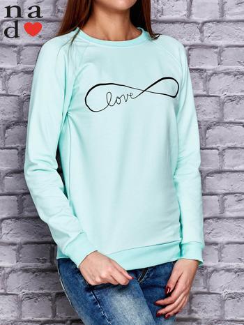 Miętowa bluza z napisem LOVE                                  zdj.                                  3