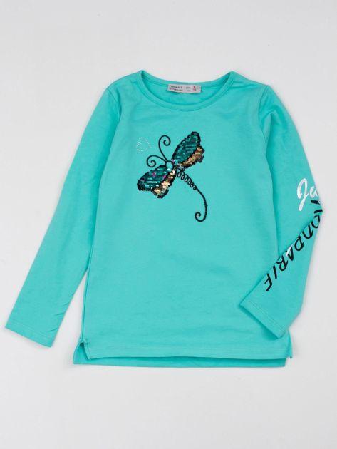 Miętowa bluzka dla dziewczynki z cekinowym motylem
