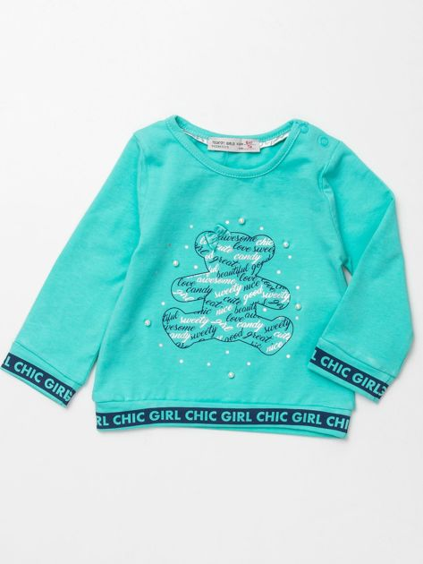 Miętowa bluzka dla dziewczynki z perełkami                              zdj.                              1