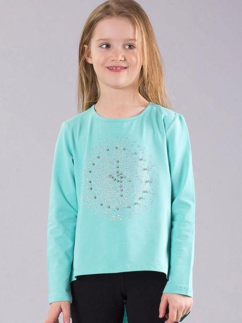 Miętowa bluzka dziewczęca z błyszczącą aplikacją                              zdj.                              1