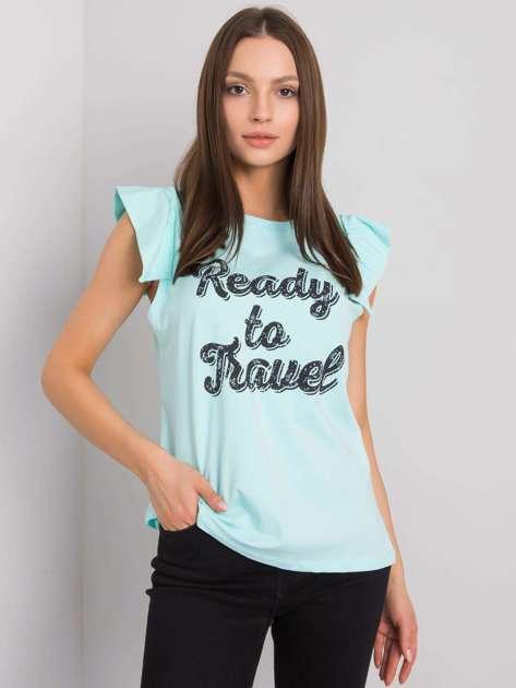 Miętowa bluzka z nadrukiem Beverly