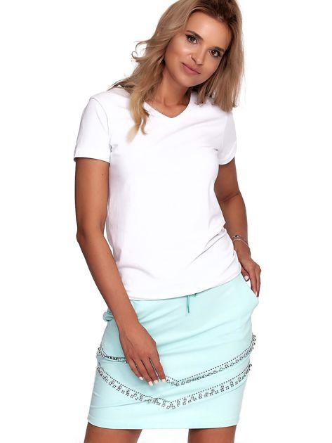 Miętowa dresowa spódnica z kieszeniami i perełkami                              zdj.                              6