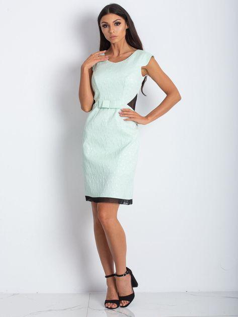 Miętowa elegancka sukienka                              zdj.                              4