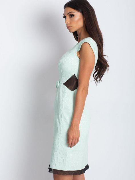 Miętowa elegancka sukienka                              zdj.                              3