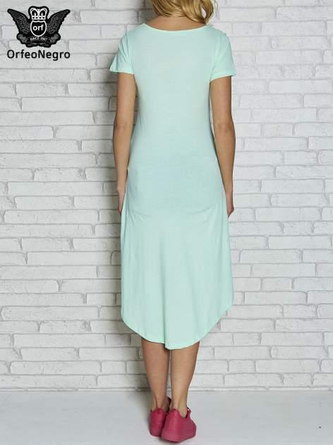 Miętowa sukienka z dłuższym tyłem i napisem INSPIRE THE WORLD                                  zdj.                                  3