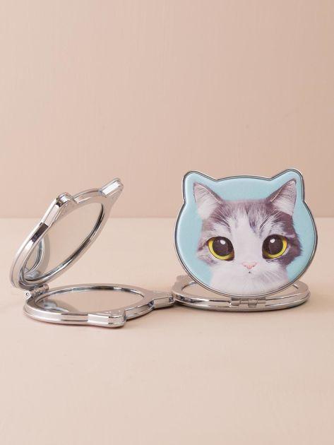 Miętowe lusterko z nadrukiem kota