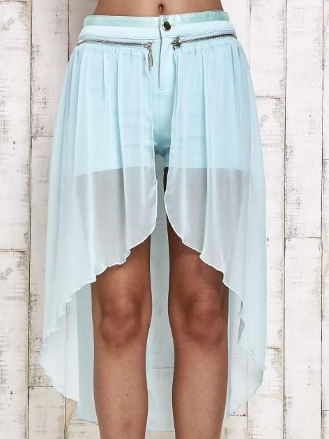 Miętowe spódnicospodnie z tiulowym trenem