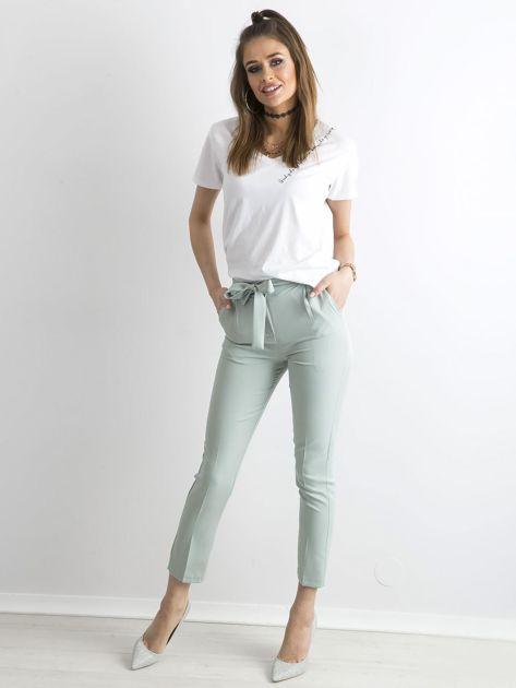 Miętowe spodnie z wiązaniem                               zdj.                              4