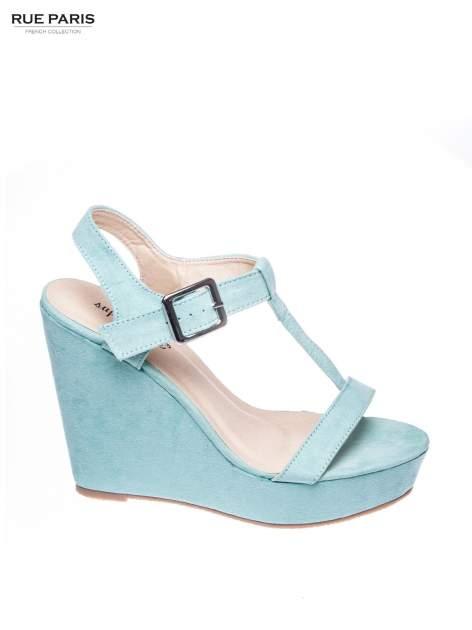 Miętowe zamszowe sandały t-bary na koturnie                                  zdj.                                  1
