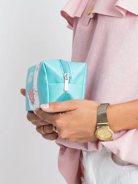 Miętowo-niebieska torba z nadrukiem                              zdj.                              5