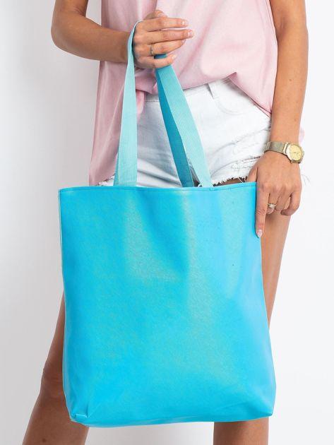 Miętowo-niebieska torba z nadrukiem                              zdj.                              2