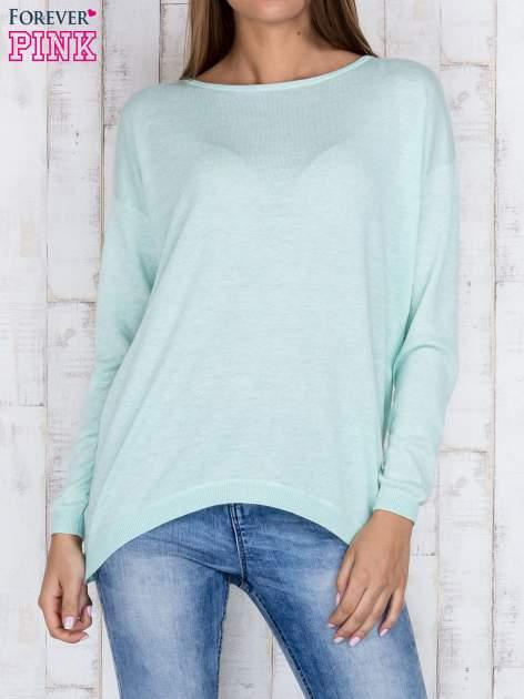 Miętowy nietoperzowy sweter oversize z dłuższym tyłem                                  zdj.                                  1