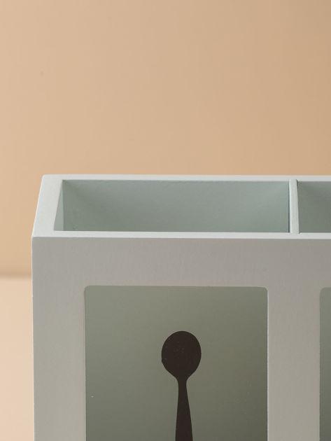 Miętowy podłużny pojemnik na sztućce                              zdj.                              8