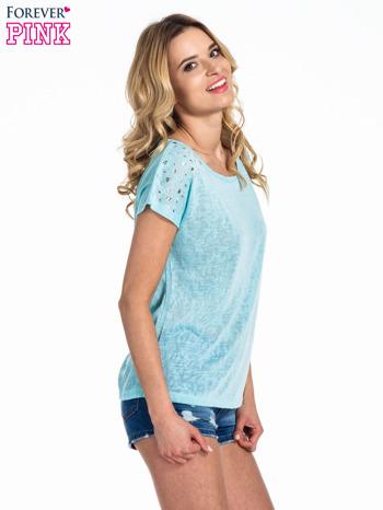 Miętowy t-shirt z kryształkami na rękawach                                  zdj.                                  2