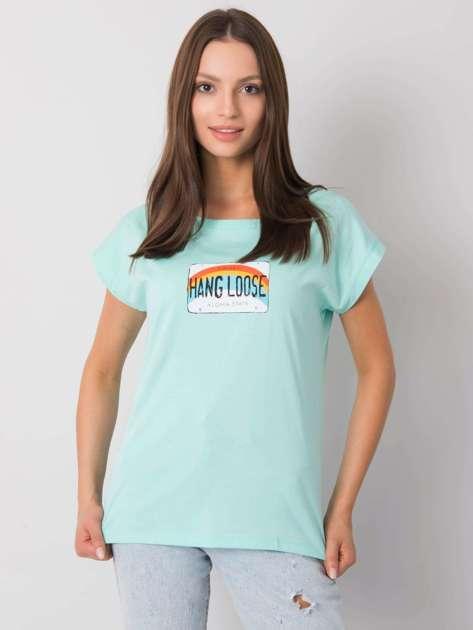 Miętowy t-shirt z nadrukiem Aloha