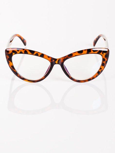 Modne okulary zerówki KOCIE OCZY leopard w stylu Marlin Monroe- soczewki ANTYREFLEKS+system FLEX na zausznikach                              zdj.                              1