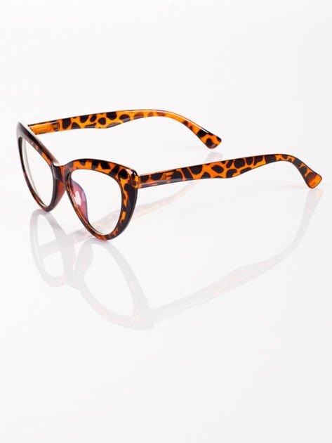 Modne okulary zerówki KOCIE OCZY leopard w stylu Marlin Monroe- soczewki ANTYREFLEKS+system FLEX na zausznikach                              zdj.                              3