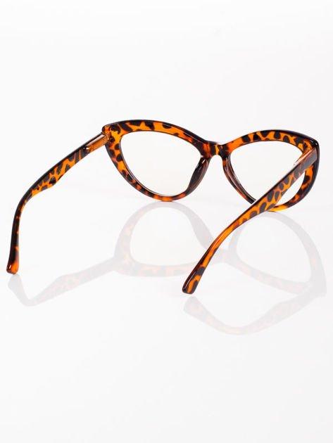 Modne okulary zerówki KOCIE OCZY leopard w stylu Marlin Monroe- soczewki ANTYREFLEKS+system FLEX na zausznikach                              zdj.                              4